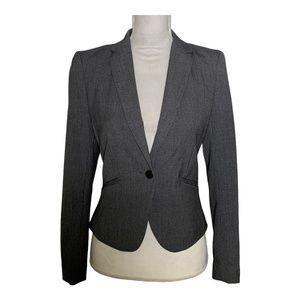 H&M blazer suit jacket fitted one button gray 4